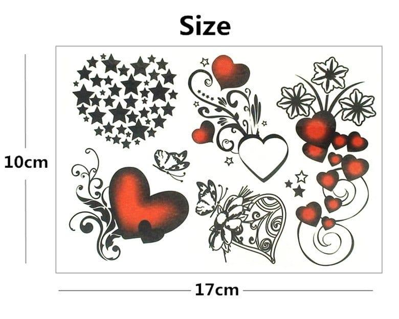 Nu-TATY Sexy hearts stars Temporary Tattoo Body Art Flash Tattoo Stickers 17*10cm Waterproof Fake Tatoo Styling Wall Sticker