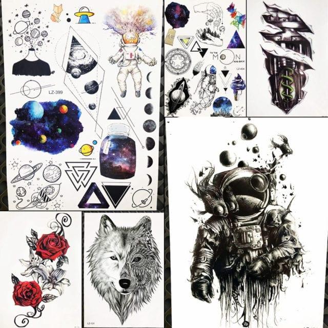 Spaceman Waterproof Tattoo Sticker For Women Body Legs Art Tatoo Arm Sleeve Astronaut Men Temporary Universe Tattoo Outer Space
