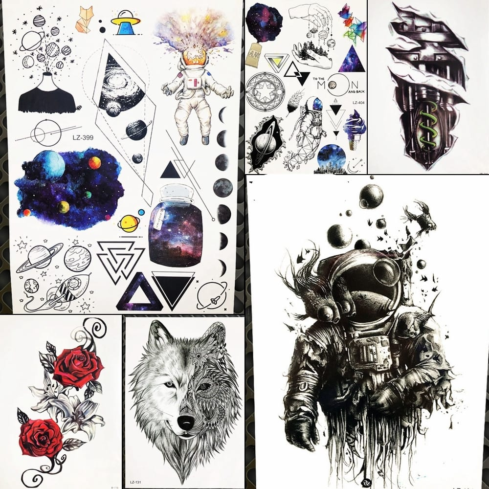 Spaceman Waterproof Tattoo Sticker For Women Body Legs Art Tatoo Arm Sleeve Astronaut Men Temporary Universe Tattoo Outer Space
