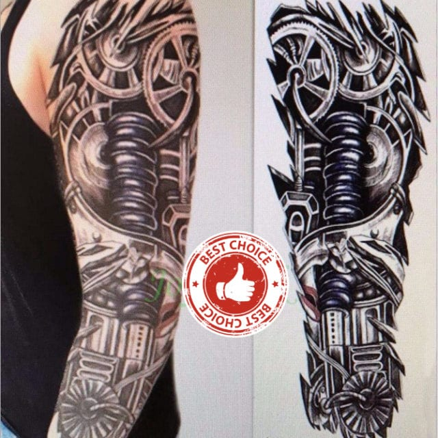 Waterproof Temporary Tattoo Sticker full arm large size robot arm tatto flash tatoo fake tattoos sleeve for men women 19