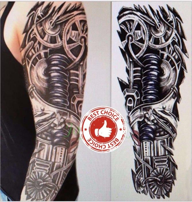 Waterproof Temporary Tattoo Sticker full arm large size robot arm tatto flash tatoo fake tattoos sleeve for men women 19