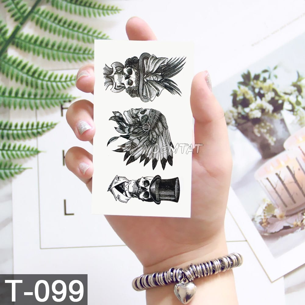 Geometric Moose Elk Arrow Temporary Tattoo Panda Women Hand Tatoo Sticker Triangle Wolf Body Arm Art Waterproof Tattoo Men