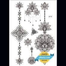 1piece Indian Arabic designs lace flash tribal black white henna tattoo paste fake tatoo sticker girls on body hand choker J019B