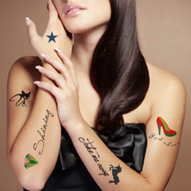 24 Designs Waterproof Temporary Tattoo sticker ear music note birds henna tatto stickers flash tatoo fake tattoos for women men