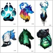 Wolf Head Animal Temporary Tattoo For Men