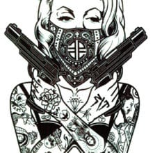 Rocooart MC708 19X12cm HD Large Tattoo Sticker Body Art Sexy assassin Women Gun Temporary Tattoo Terrorist Stickers Taty Tatoo