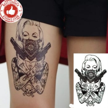 Cool Leg Tattoos | Sexy Assassin Temporary Tattoo
