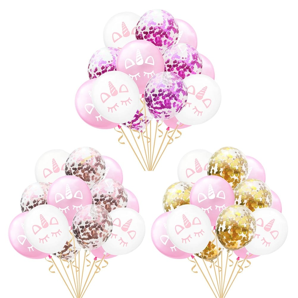 15 PCs Rose Unicorn Latex Balloon For Birthday Party Decoration