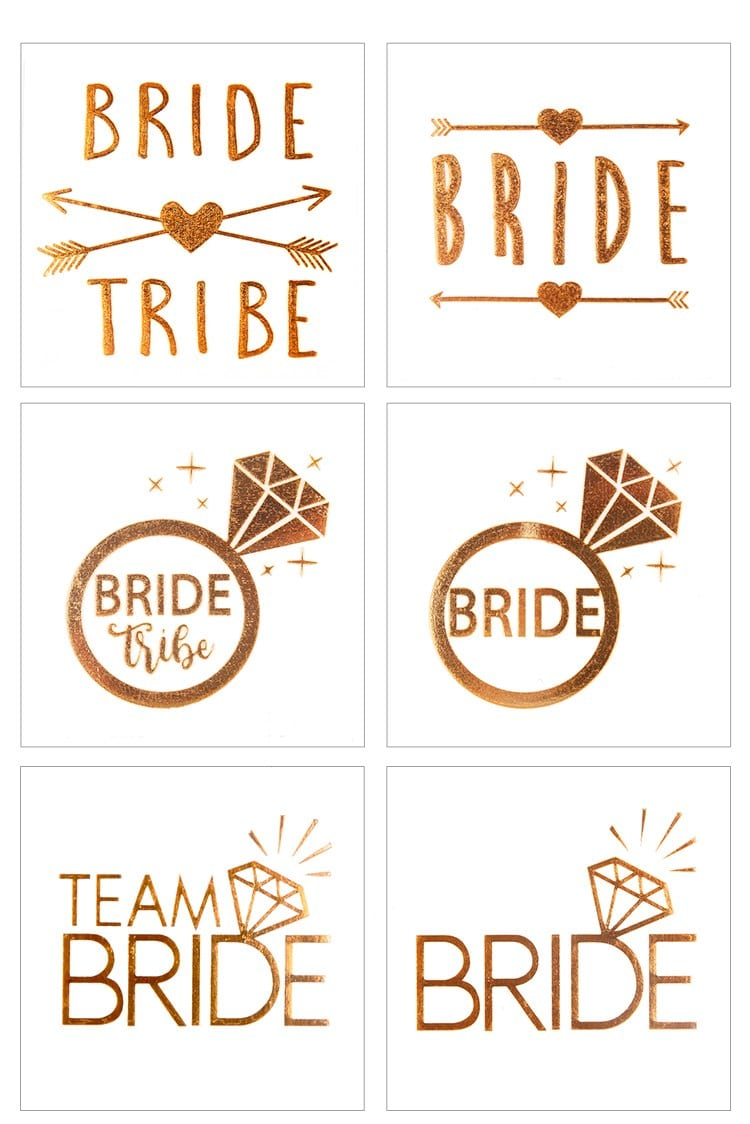 FENGRISE Gold Team Bride Temporary Tattoo Stickers Bachelorette Party Bride to be Bridal Shower Party Favors Wedding Decoration