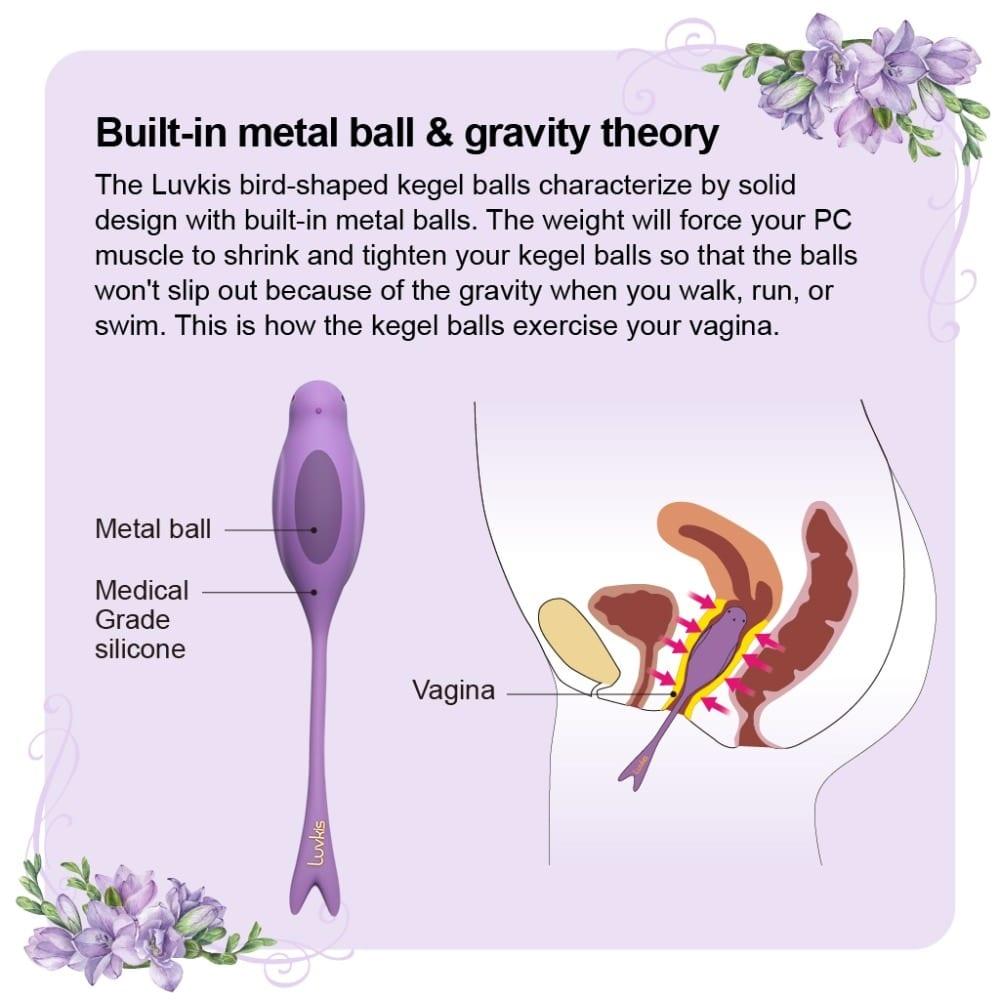 Luvkis 5 PCS Set Ben Wa Balls Tighten Training Exercise Love Egg Medical Silicone Anus or Vagina Balls Sex Toys for Women Purple