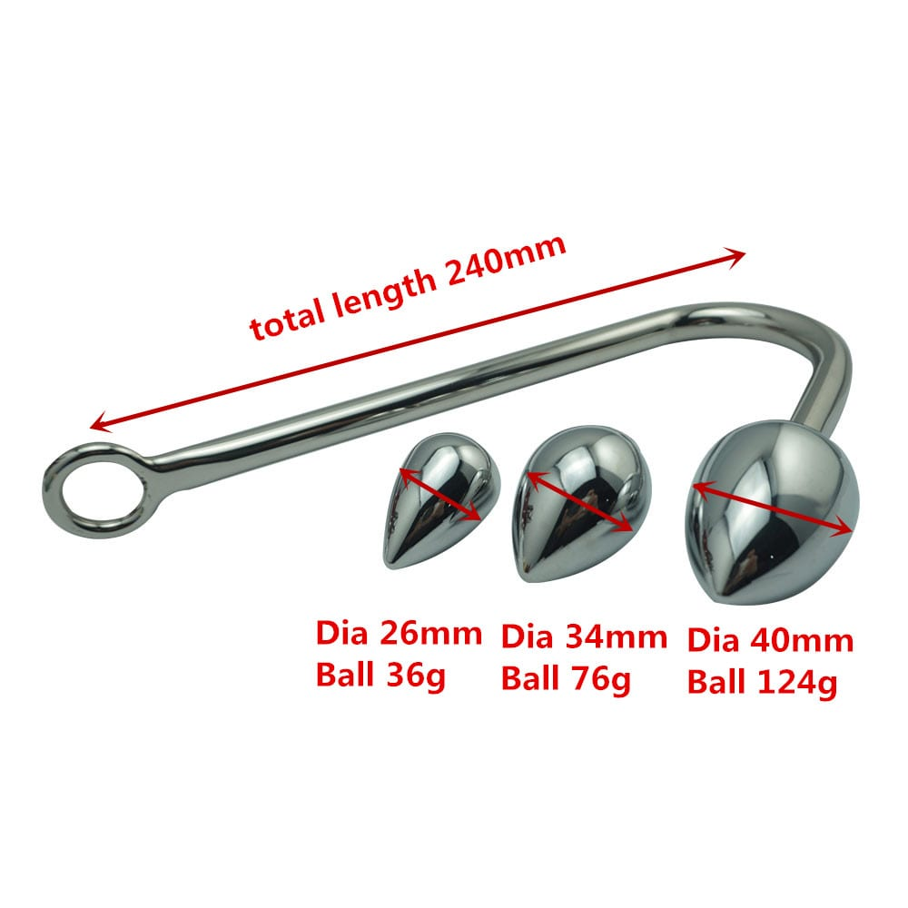 New replaceable 3 size balls choose metal anal hook butt plug beads dilator alluminum alloy sex toy for men women adult game