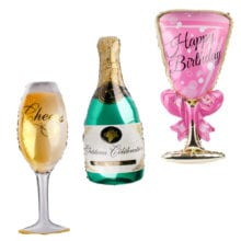 QIFU Balloon Champagne Bottle Foil Balloons Golden Beer Cheer Balloons Cup Bar Set Funny Birthday Party Decor Wedding Event