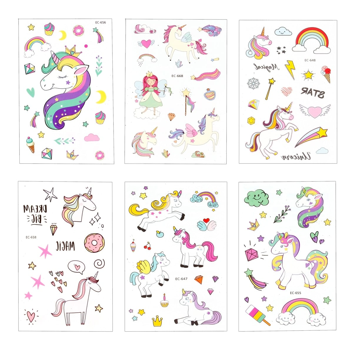 FENGRISE 1pc Disposable Tattoo Sticker Unicorn Party Decor Baby Unicorn Birthday Party Favors Temporary Unicorn Party Supplies
