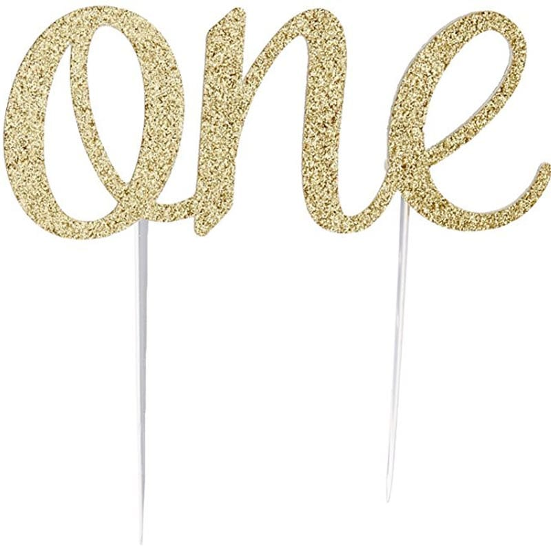 Glitter Cake Topper for baby kids girls boys one year 1st First happy Birthday party baby shower Anniversary decoration supplies