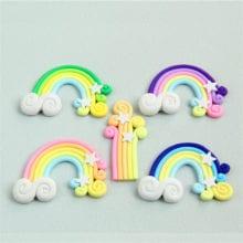 10 PCs Clay Handmade Rainbow Cake Topper For Kids Birthday Party