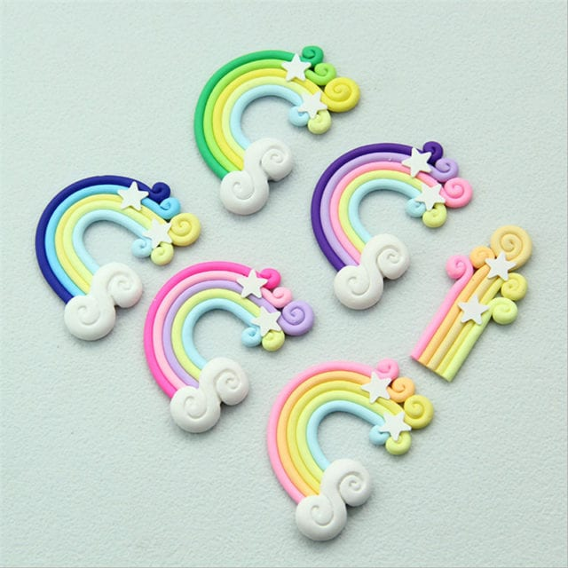 10Pc Clay Handmade DIY Rainbow Star Cake Topper birthday party decorations kid Birthday Unicorn Party wedding gifts for guests,S