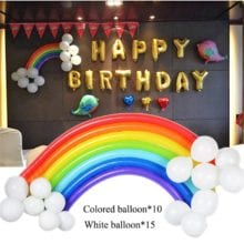 25 PCs Rainbow Band Balloon Set For Event Decoration