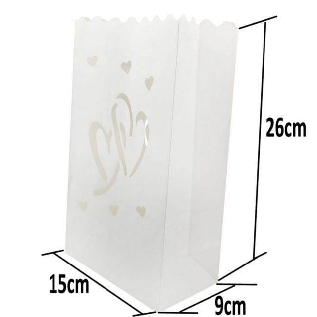 50 Pcs 25cm White Paper Lantern Candle Bag For LED light Lampion Heart For Romantic Birthday Party Wedding Event BBQ Decoration