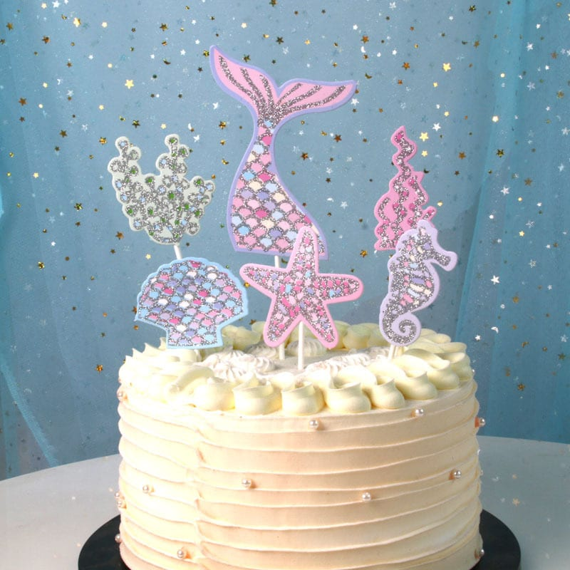 1 Set Mermaid Theme Cake Insert Birthday Party Decorations Kids Happy Birthday Wedding Decorations Baby Shower Party Supplies.q