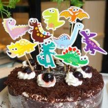 9 PCs Dinosaur Cake Topper For Kids Birthday Event Decal