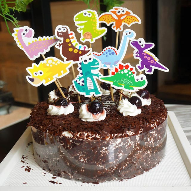 9pcs Dinosaur Birthday Cake Topper DIY Cake Flag Cartoon Animal Cake Wrapper Birthday Party Decoration Kids Cake Topper