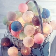3M 20LED New Year String Fairy Light 6cm Cotton ball Christmas Tree Decoration for Home natal Xmas Tree Garland home Party light
