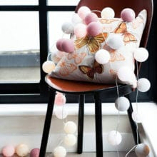 20 PCs New Year Cotton Ball LED Lights String For Home Decal