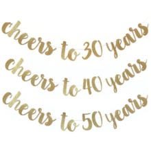Cyuan 1set Cheers to 30 Years 30th Birthday Party Decoration Paper Banner Letter Garland 40 50 60 70 Years Party Decoration
