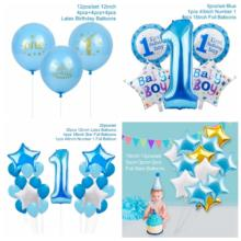 Latex Blue Solid Color Letters Birthday Boy Foil Balloons