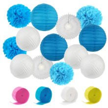 Fashion Blue Pink Paper Beach-Themed Party Decoration Sets