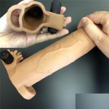 Male 8.5 Re-washable Sex Organ Silicon Sheath With Electric Slug