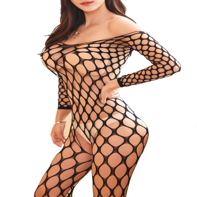 Sexy Lingerie Fishnet Latex Catsuit Body Stocking