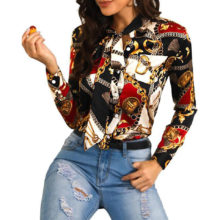 Homophony New Fashion Slim Women Blouse Chain Printing Single-breasted Cardigan Elegant Casual Office Streetwear Women Home Tops