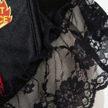 Corzzet Steampunk Red Floral Lace Ruffles Overbust Corset Sexy Lingerie Gothic Bustier Top Corselet Corset Dress Gothic Clothes