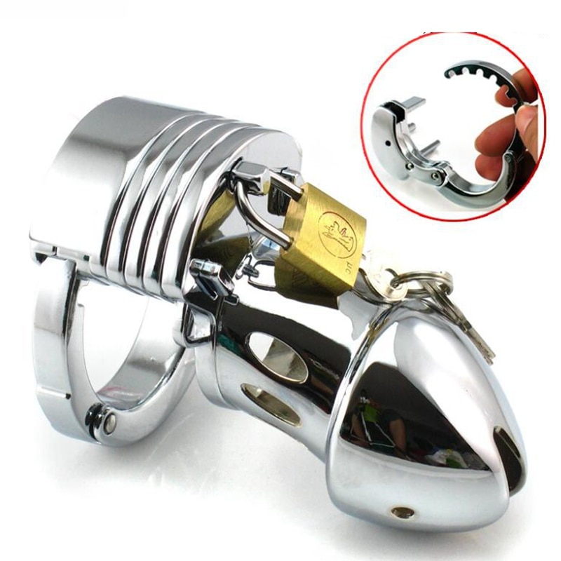 Metal Chastity Bondage With Glass Anal Beads