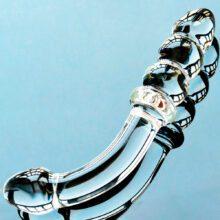 Curved Glass Dildo | Beaded Dildo